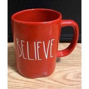 Rae Dunn Red Believe Mug